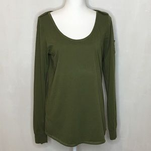 Lucky Brand Army Green Long Sleeve Pocket Tee